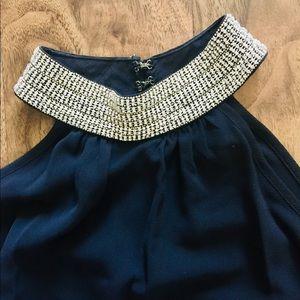 Jeweled neckline tank/halter top